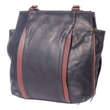 Berri hobo leather bag (convertible backpack) - Blue/Brown