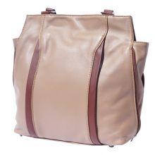 Berri hobo leather bag (convertible backpack) - Taupe/Brown