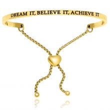 Yellow Stainless Steel Dream It   Believe It   Achieve It Adjustable Bracelet