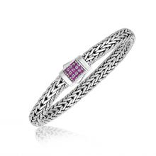 Sterling Silver Pink Tone Sapphire Accented Braided Unisex Bracelet