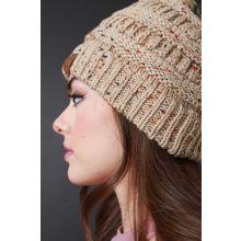 Speckle Ridged Knit Beanie -  Khaki