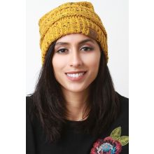Speckle Ridged Knit Beanie -  Mustard