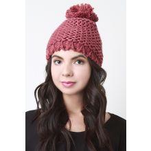 Loose Knit Pom Pom Beanie -  Mauve