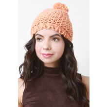 Loose Knit Pom Pom Beanie -  Orange