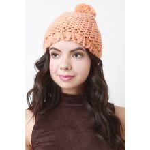 Loose Knit Pom Pom Beanie -  Orange