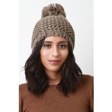 Loose Knit Pom Pom Beanie -  Taupe
