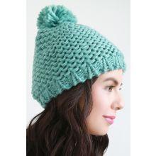 Loose Knit Pom Pom Beanie -  Turquoise