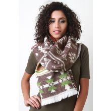 Multicolor Tribal Knit Scarf -  Beige