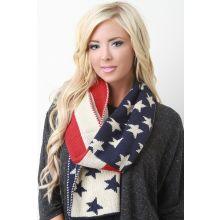 Old Glory Braid Stitch Scarf -  American Flag