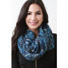 Condo Knit Fluff Infinity Scarf -  Blue Multi