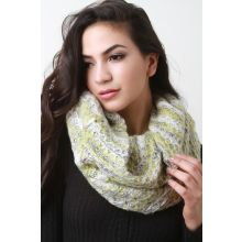 Condo Knit Fluff Infinity Scarf -  Lime Multi
