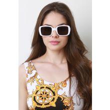 Retro Square Frame Sunglasses -  White