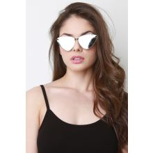 Angled Cat Eye Sunglasses -  Silver