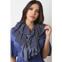 Stripe Ruffled Scarf -  Navy