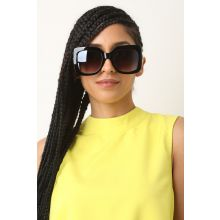 Plastic Frame Oversized Sunglasses -  Black