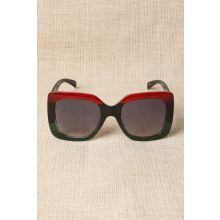 Plastic Frame Oversized Sunglasses -  Red