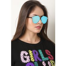 Double Metal Bridge Mirrored Sunglasses -  Blue