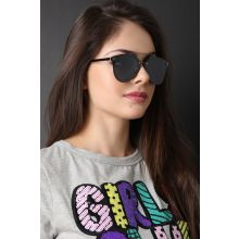 Double Metal Bridge Mirrored Sunglasses -  Black
