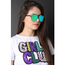 Double Metal Bridge Mirrored Sunglasses -  Green