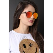 Double Metal Bridge Mirrored Sunglasses -  Orange