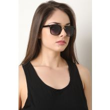 Metal Double Bridge Ombre Lenses Sunglasses -  Black