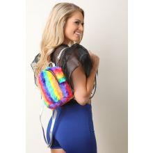 Rainbow Faux Fur Mini Backpack -  Multi 2