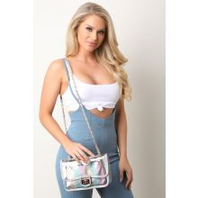 Clear Rainbow Glitter Crossbody Bag -  Multi