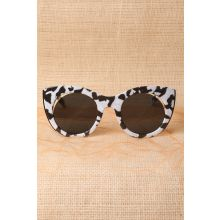 Plastic Frame Cat Eye Cutout Sunglasses -  Black/White