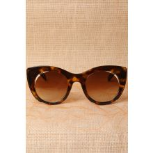Plastic Frame Cat Eye Cutout Sunglasses -  Leopard
