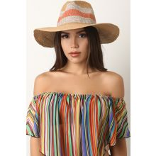 Striped Panama Straw Hat -  Tan