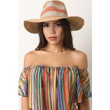 Striped Panama Straw Hat -  Tan