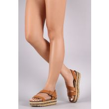 Bamboo Tribal Ribbon Cork Footbed Flatform Sandal