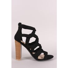 Wild Diva Lounge Suede Caged Open Toe Chunky Heel