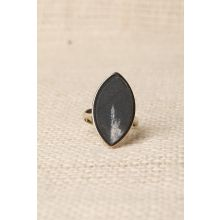 Oval Faux Marble Ring -  Black