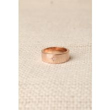 Rhinestone Star Wide Band Ring -  Rose Gold