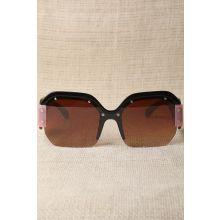 Oversized Semi-Rimless Colorblock Sunglasses -  Brown