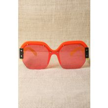 Oversized Semi-Rimless Colorblock Sunglasses -  Yellow