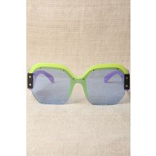 Oversized Semi-Rimless Colorblock Sunglasses -  Lavender