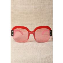 Oversized Semi-Rimless Colorblock Sunglasses -  Pink