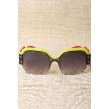 Oversized Semi-Rimless Colorblock Sunglasses -  Red