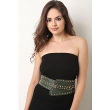 Stud Embellished Wide Belt -  Green