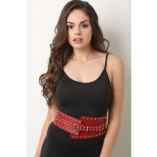 Stud Embellished Wide Belt -  Red
