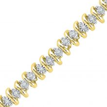 10kt Yellow Gold Womens Round Diamond Studded Tennis Bracelet 1/4 Cttw
