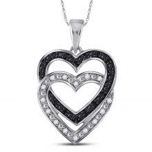 10kt White Gold Womens Round Black Color Enhanced Diamond Double Heart Pendant 1/10 Cttw