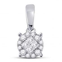 14kt White Gold Womens Princess Round Diamond Soleil Cluster Pendant 1/6 Cttw