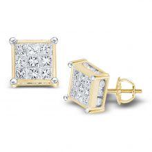 14kt Yellow Gold Womens Princess Diamond Cluster Stud Earrings 1/2 Cttw