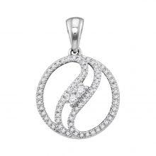 10kt White Gold Womens Round Diamond 2-stone Divided Circle Pendant 1/6 Cttw