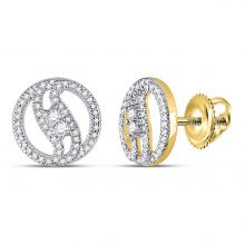 10kt Yellow Gold Womens Round Diamond 2-stone Circle Stud Earrings 1/4 Cttw