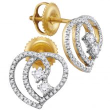 10kt Yellow Gold Womens Round Diamond 2-stone Heart Earrings 1/4 Cttw