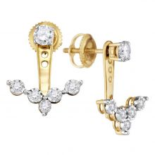 10kt Yellow Gold Womens Round Diamond Earring Jacket Studs 5/8 Cttw